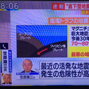 また地震が頻発しているのでご用心!と昨日書いたら、やっぱり茨城で震度4。