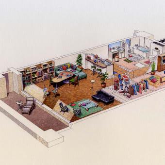 マンション室内の建築イラスト