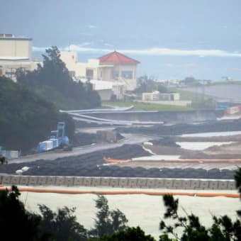 台風の影響で埋め立て工事はなし/国道329号線のへこみ