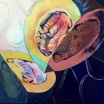 「与えられたカボチャを不透明水彩絵具を使用し、色面で表現しなさい。」