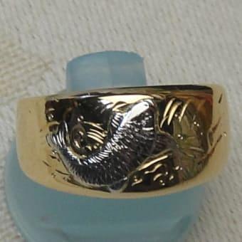 鯉のリング(切断修理と彫り加工)