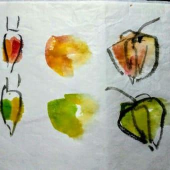 墨彩画で描く「鬼灯」の色紙 ハガキ
