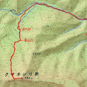 クマネシリ岳のGPSトラック