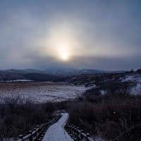 八島湿原は雪が降ってた