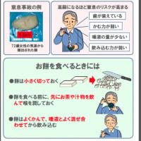 モチを、高齢さが、ノドに詰まらせる、事故と対策。「ご注意ください。高齢者の「餅の窒息事故」。1月は餅の窒息事故、が急増します!」