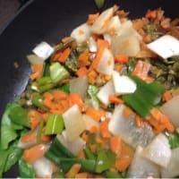 庭で採れたフキノトウと小松菜