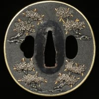 吉野桜図鐔 加賀金工 Kaga Tsuba