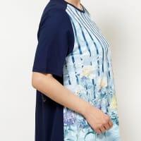 花プリントパネル柄半袖チュニック