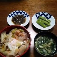 がっつり丼で一汁二菜:豚玉丼