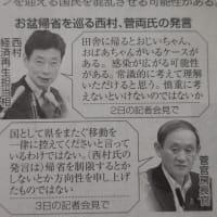西村大臣の勇み足会見、ヤキモキする保護者の菅官房長官が、いかにもええ格好をして尻ぬぐい