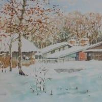 水彩お絵描き思い出めくり№184「冬の牧場」