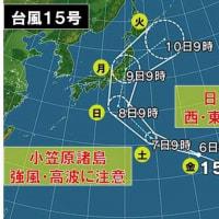 台風15号の進路が心配です!