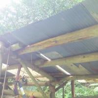 丸太小屋屋根修理