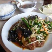 むさしさんでレバニラ炒め定食 ラーメン(館山市)