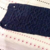 ネックウォーマーを編みました。