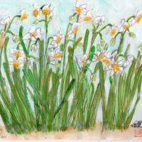 2019年、描き納めの花が水仙となった(スケッチ&コメント)