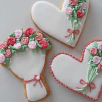 花束アイシングクッキーとフロランタンタルト
