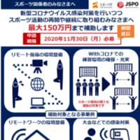 〔お知らせ〕「スポーツ活動継続サポート事業」期間延長(11/30まで)