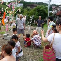 第2回平和団地、「七夕のつどい」で 七夕飾りを習いました
