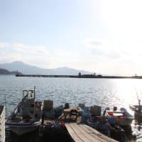 冬の漁港にて