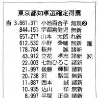 都知事選、世田谷区における投票結果〜3位と4位が全体の結果と入れ違っています