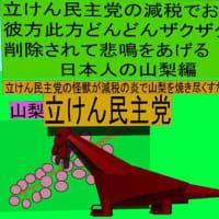 立憲民主党の減税で彼方此方どんどんザクザク削除されて、悲鳴を上げる日本人のアニメーションの怪獣の山梨編(1)