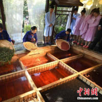 九つの格子状に仕切られた「九宮格」の浴槽に生薬を入れた風呂を体験しようと、多くの人が訪れていた。中国新聞網が伝えた。