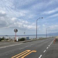 諫早湾干拓堤防道路、ロードバイクで走る。