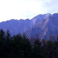 穂高連峰のモルゲンロートとアーベントロート