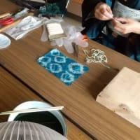 田布施町郷土館「織物と染物の歴史展示会」に付随して藍染め体験(3/x)