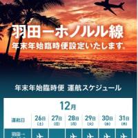 年末年始のハワイフライト、JAL、増便!