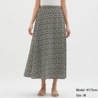 GUのフラワープリントフレアロングスカート