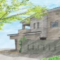 (仮称)吹抜とライブラリーが深みと上質を生み出すアッパーモダンの家・外観のイメージを昇華の途中・・・色トーンと質感と素材での違いを設計デザインの着目部分で。