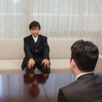 「第11回ヒーローズカップ」に川西市ラグビースクールの一員として出場し第3位となった川越寛太さんに箕面市長表彰!