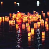 灯籠が流れる夜の川 (五ケ所川)