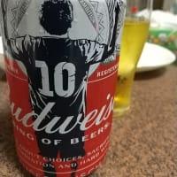 Bud(メッシ缶)で祝杯