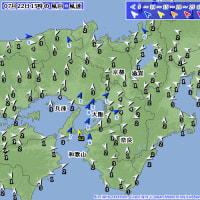 7月22日 アメダスと天気図。