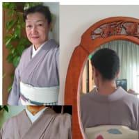 初めて着物を習われる方には、衣紋抜き&両衿に紐を付けて頂きます