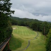 台風通過後もゴルフコンペにてラウンドを