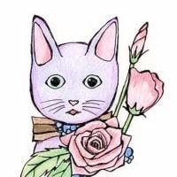 過去絵。猫イラスト。水彩色鉛筆、ミリペン。191107