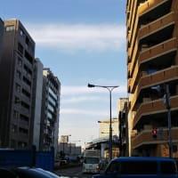 本日大阪浪速区今宮戎上空ぎょえぎょえ地震雲。超けったいな地震雲。