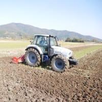 ランボルギーニトラクターで耕運作業。