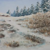 水彩お絵描き思い出めくり№219「雪の丘」