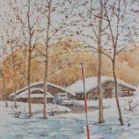 水彩お絵描き思い出めくり№185「冬の牧場2」