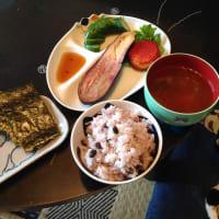 なすの梅酢煮びたしと黒千石の豆ご飯