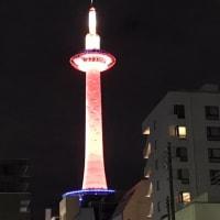 おめでたい紅白の京都タワー
