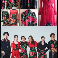 大輪ダマスクローズのユニット衣装 *Vestido estampado de Rosa damascena*