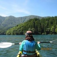 青木湖でカヤック