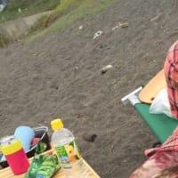 海辺で娘とデイキャンプ