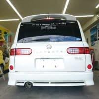 看板ステッカーを貼って「ラフェスタ」はこれより車検整備を予定しております!